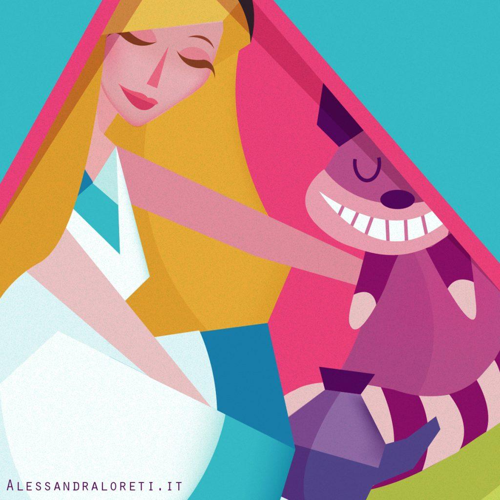 illustrazioni Fiabe in quarantena Alice nel paese delle meraviglie - Alessandra Loreti