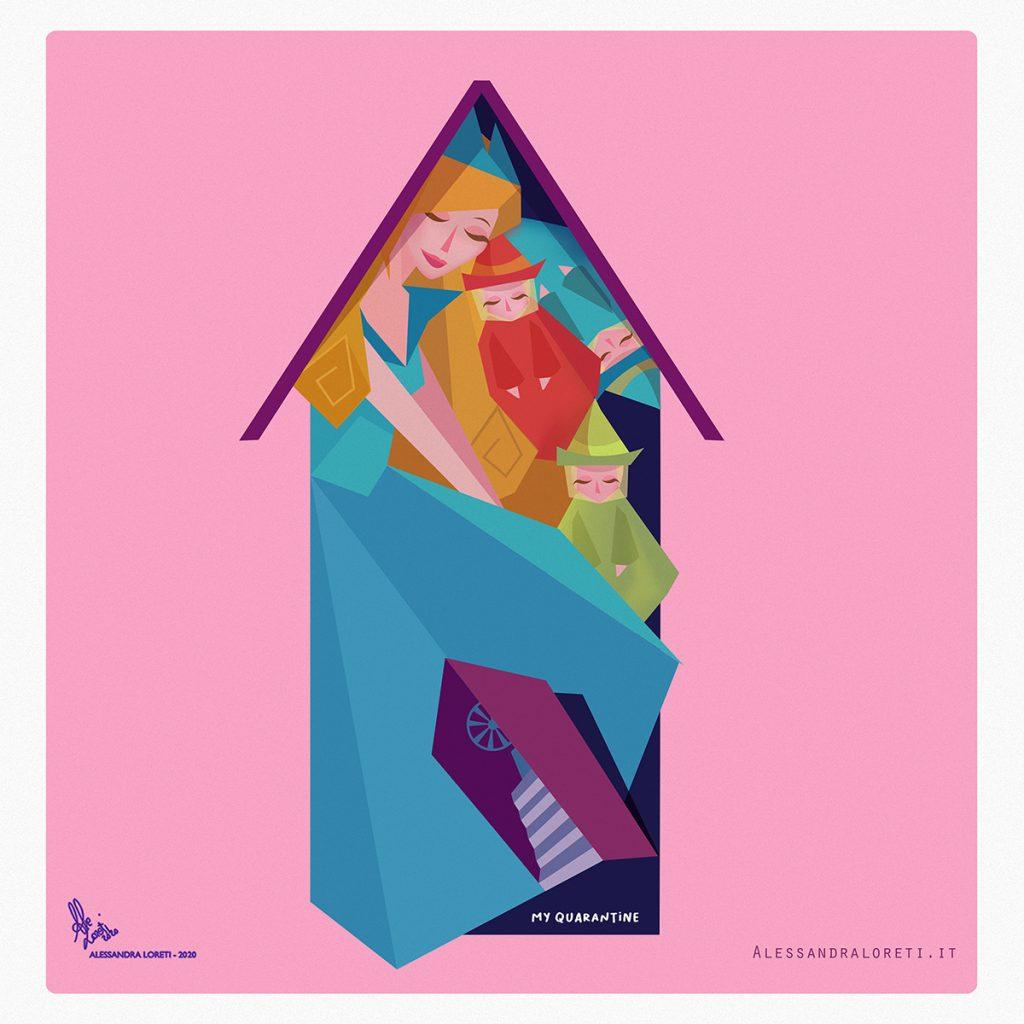 illustrazioni Fiabe in quarantena La Bella Addormentata nel Bosco - Alessandra Loreti