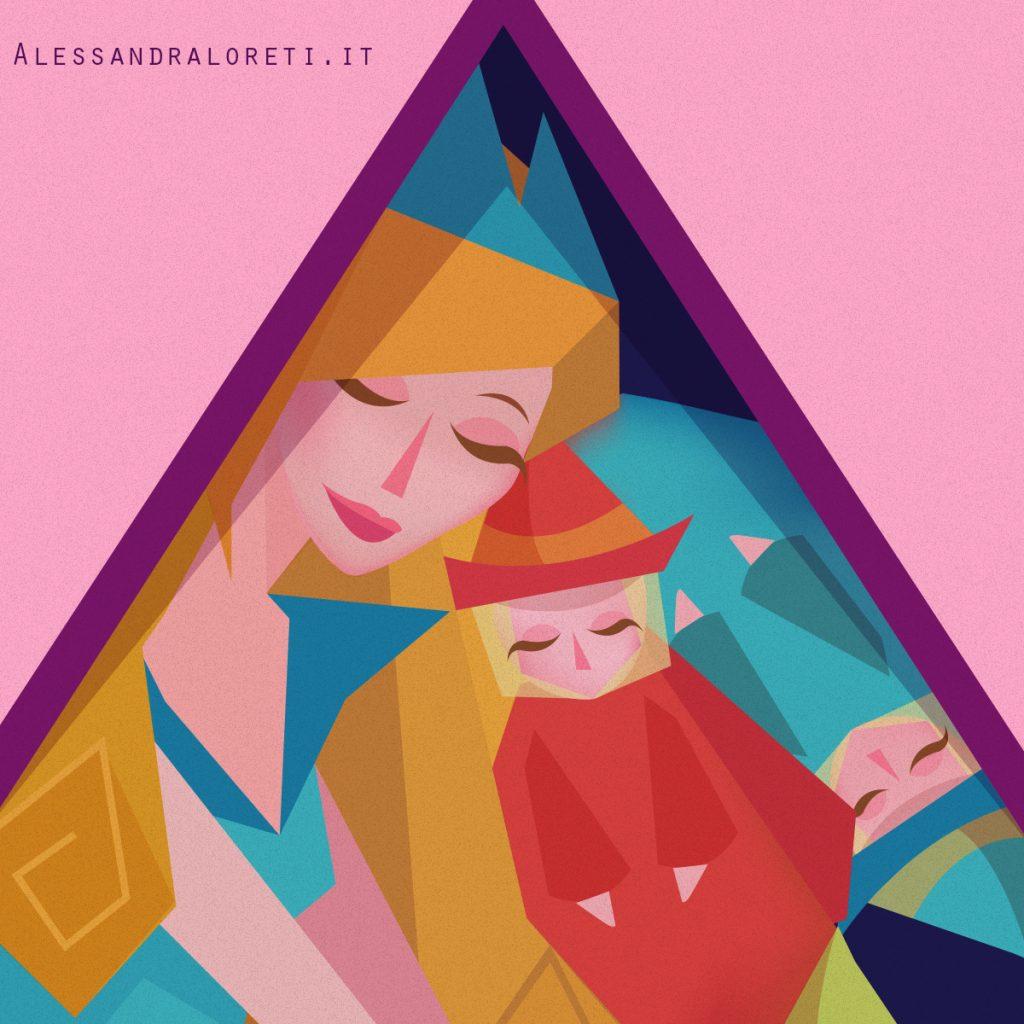 illustrazioni Fiabe in quarantena Bella Addormentata - Alessandra Loreti