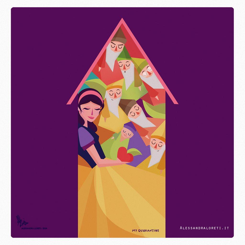 illustrazioni Fiabe in quarantena Biancaneve - Alessandra Loreti