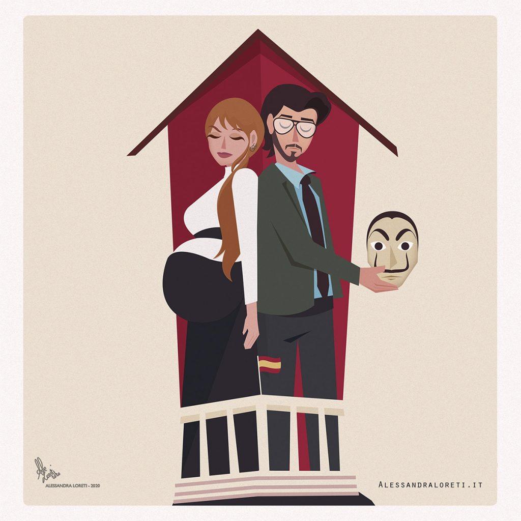 Illustrazione La casa di carta - Alessandra Loreti