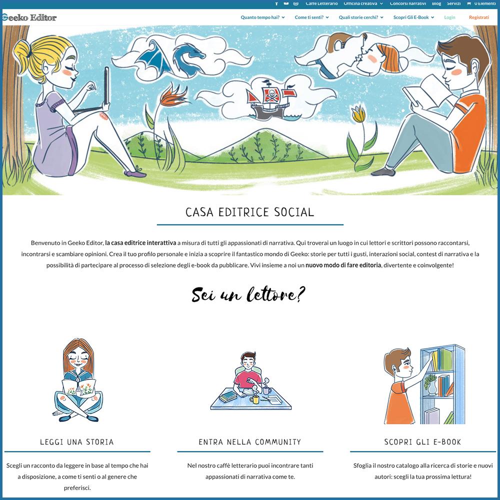 Grafica per il sito della casa editrice social Geeko Editor - Alessandra Loreti